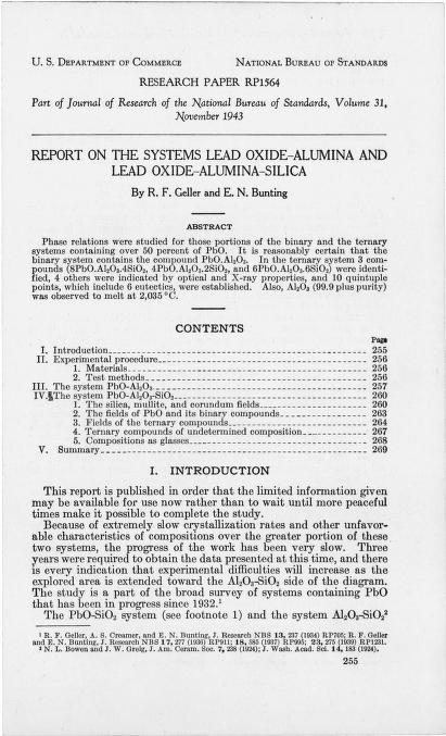 R.F. Geller - Report on the systems lead oxide-alumina and lead oxide-alumina-silica