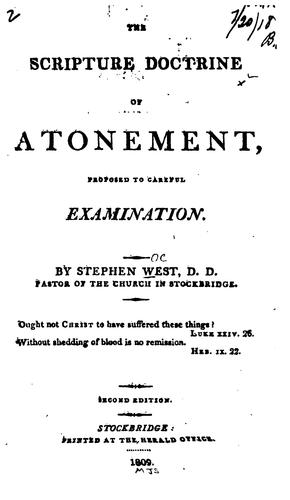 The Scripture Doctrine of Atonement, Proposed to Careful Examination