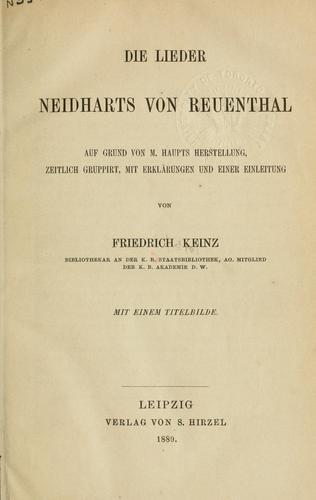 Die Lieder Neidharts von Reuenthal