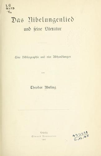 Download Das Nibelungenlied und seine Literatur