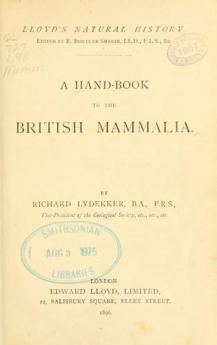 A hand-book to the British mammalia.