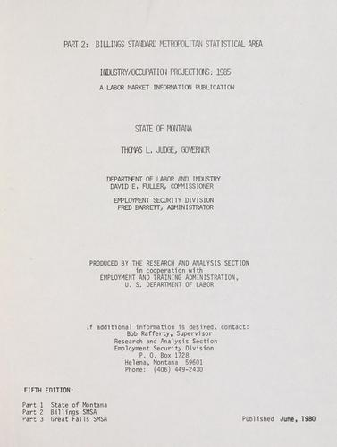 Download Industry/occupation projections, 1985