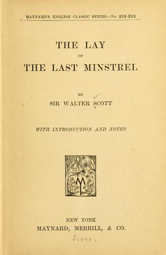 Download The lay of the last minstrel