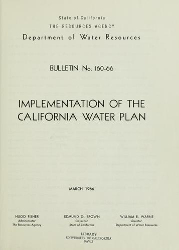 Implementation of the California water plan