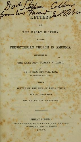 Letters on the early history of the Presbyterian Church in America