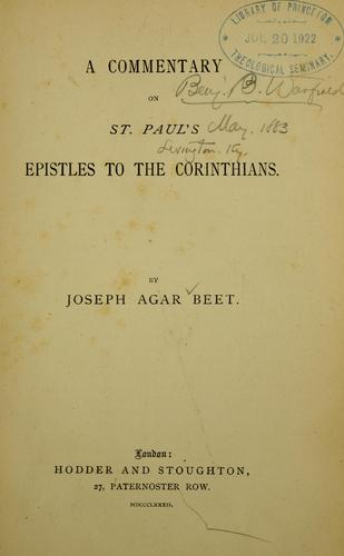 A commentary on St. Paul's Epistles to the Corinthians …