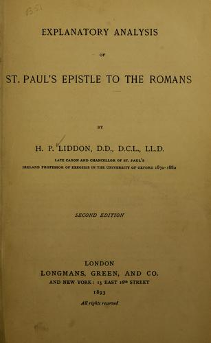 Download Explanatory analysis of St. Paul's Epistle to the Romans