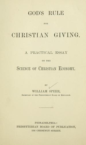 God's rule for Christian giving