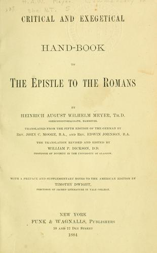Download Critical and exegetical hand-book to the Epistle to the Romans