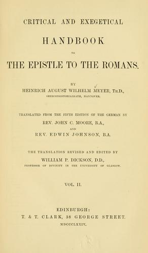 Download Critical and exegetical handbook to the Epistle to the Romans
