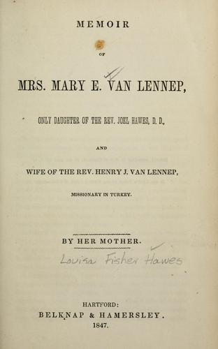 Download Memoir of Mrs. Mary E. Van Lennep