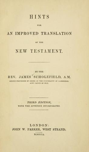 Hints for an improved translation of the New Testament.