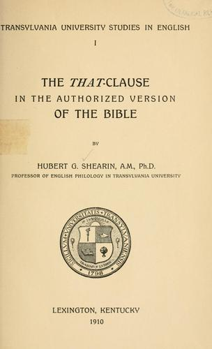 The that-clause in the Authorized version of the Bible.