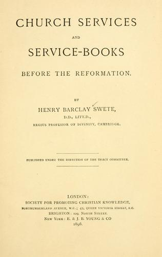 Church services and service-books before the Reformation.