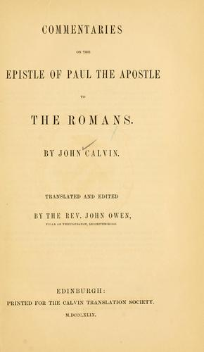 Download Commentaries on the Epistle of Paul the Apostle to the Romans