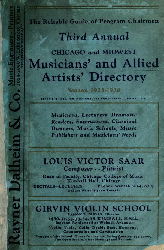 Midwest musicians' and allied artist' directory by