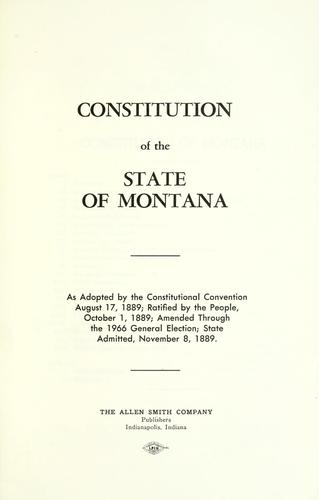 Constitution of the State of Montana