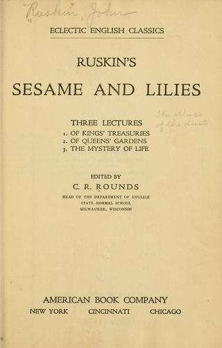 Ruskin's Sesame and lilies
