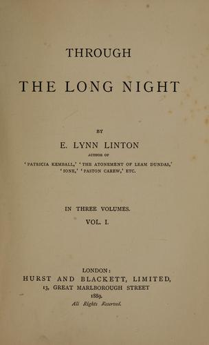 Through the long night by Elizabeth Lynn Linton
