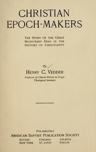 Christian epoch-makers